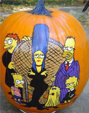 Tagyerit presents debby smits painted pumpkins maggie homer bart lisa simpson the addams simpson family spongebob squarepants thejoker pronofoot35fo Image collections