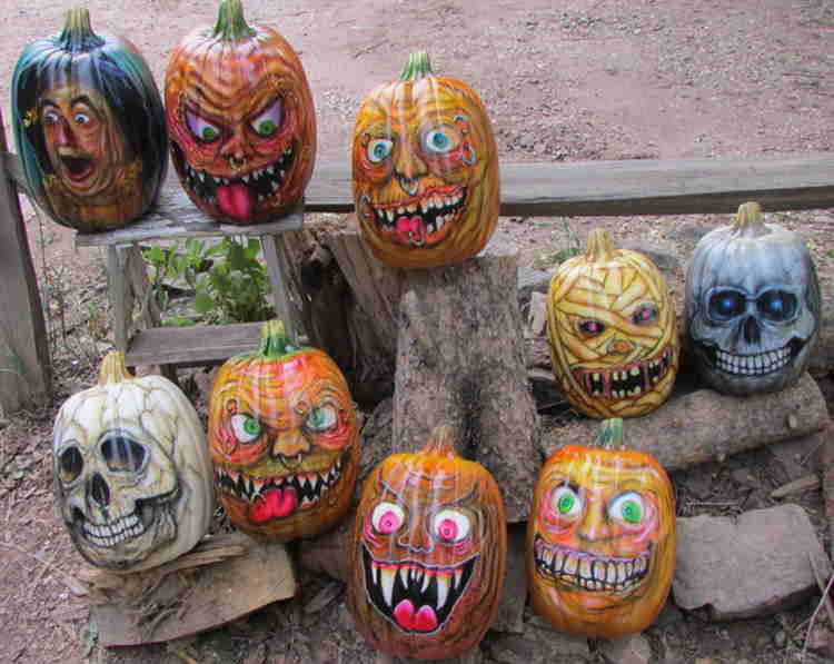 Motley crew of pumpkin heads