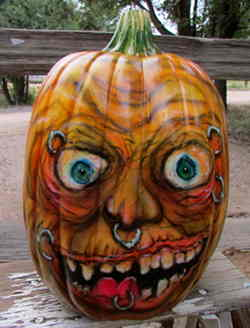 Pumpkin with piercings and rings
