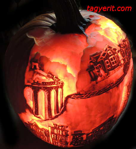 Left view of Ghost Train Pumpkin