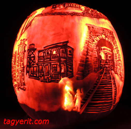 Bottom view of Ghost Train Pumpkin
